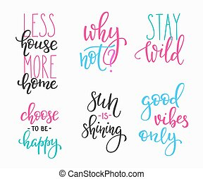 Lettering vector postcard quotes set. Motivational quote....