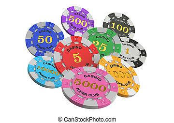 Casino tokens, 3D rendering