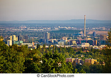 Zagreb business district panoramic view