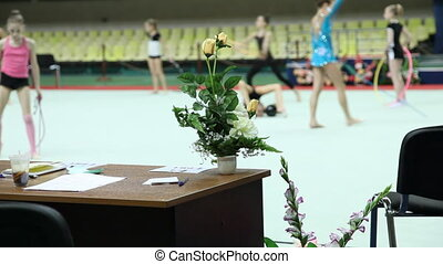 Rhythmic gymnastic training , Moscow, Russia