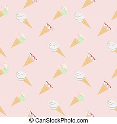 Seamless pattern ice cream cones pink, vector