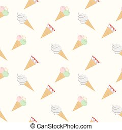 Seamless pattern ice cream cones white, vector