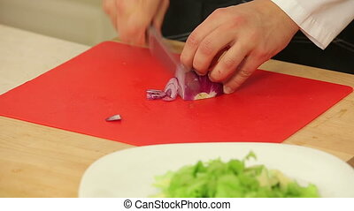Chef chopping red onion for salad