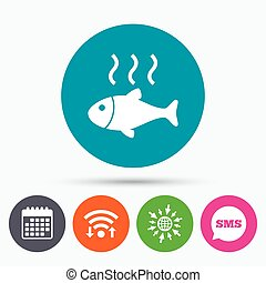 Fish hot sign icon Cook or fry fish symbol - Wifi, Sms and...