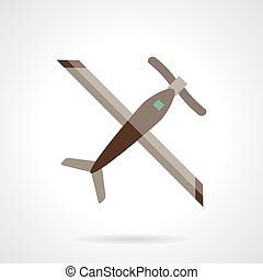 RC plane flat color design vector icon - Remote controlled...