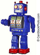 vendemmia, STAGNO, robot, camminare, isolato, bianco