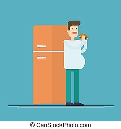 Fat man eating hamburger on the background of the refrigerator. Flat vector illustration