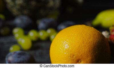 Pomelo Fruit and Orange on Dark Wooden Table with Exotic...