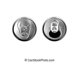 Closed And Open - Tin can tops isolated over white...