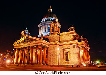 Saint Petersburg, Russia, night view of St Isaacs Cathedral...