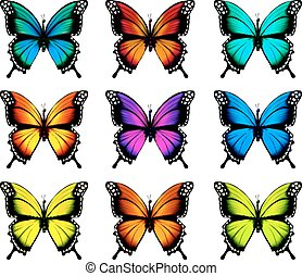 Collection of colorful butterflies, flying in different...