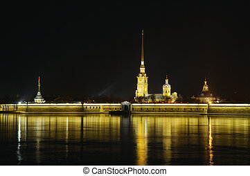 Saint Petersburg, Russia, night view of Peter and Paul...