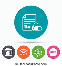Medical prescription Rx sign icon Pharmacy - Wifi, Sms and...