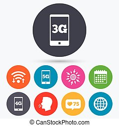 Mobile telecommunications icons 3G, 4G and 5G - Wifi, like...