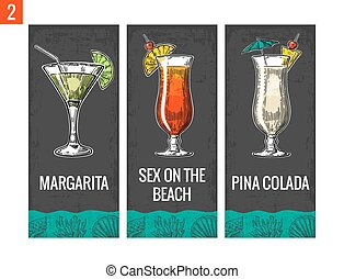 Alcohol cocktail set Margarita, sex on the beach, pina...