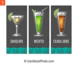 Alcohol cocktail set. Daiquiri, mojito, cuba libre. Vintage...