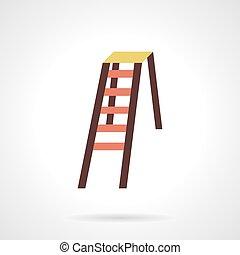 Folding color stepladder flat design vector icon -...