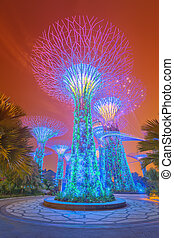 Night view of The Supertree Grove at Gardens near, Singapore...