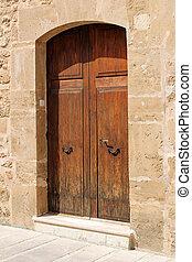 pietra, porta, legno, Mediterraneo, stile, parete