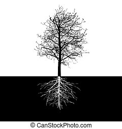 Shape of Tree without Leaves and Roots Vector Illustration