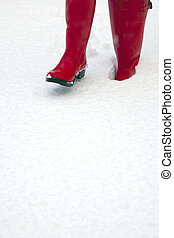 Red wellies in the snow