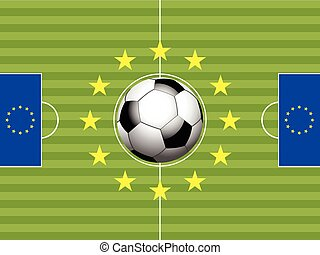 Football Soccer pitch and flags