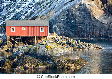 Nusfjord, Lofoten Islands, Norway - The town of Nusfjord in...