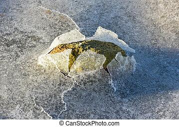 Rock Cracking Ice, Lofoten Islands, Norway - Rock cracking...