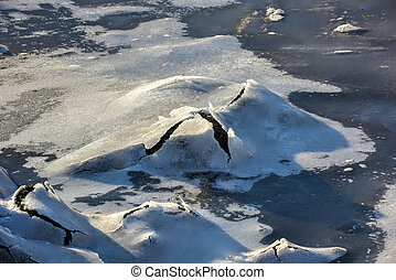 Rock Cracking Ice, Lofoten Islands, Norway - Rock cracking...