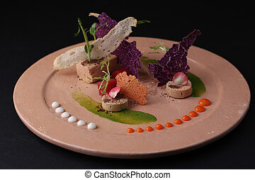 Pate with sauce, toast, jelly and arugula on a plate,...