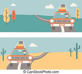 Retro baner about travel on the car