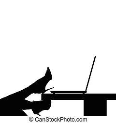woman beauty legs on computer illustration