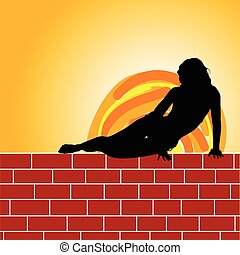 girl on brick wall illustration