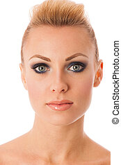 Beauty portrait of woman with perfect makeup, smokey eyes,...