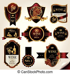 premium wine labels set - luxury premium wine labels set...