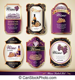 premium wine labels - elegant premium wine labels set...