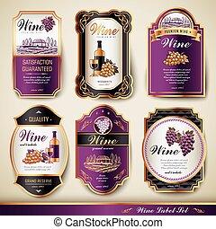 premium wine labels - elegant premium wine labels set...