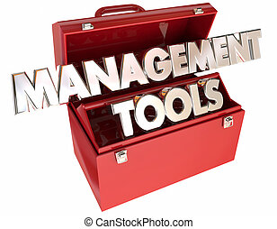 Management Tools 3d Words Toolbox Leading Organization Team...