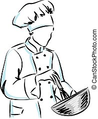 woman master chef illustration