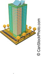 Multi-storey building. Residential house on a white background. Isometric style. Vector illustration of