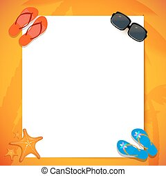 White paper on the sand, down by glasses, spanking and starfish. Poster for advertisements summer vacation travel agency. Poster beach holiday. Tour card. Invitation to the summer vacation in the tropics. Stock vector