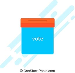 Icon blue ballot box Referendum icon - ballot box with red...