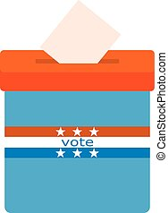 Icon blue ballot box. Referendum icon - ballot box with red...