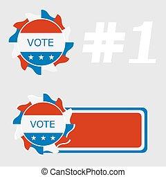 Set Icon blue ballot box. Referendum icon - ballot box with...