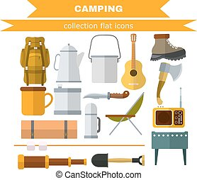Set of camping items on a white background Flat camping...