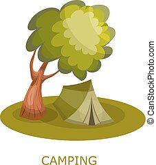 Green tourist tent under a tree. Forest Glade with tourist tent on a white background. Icon
