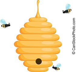 Yellow bee hive on a white background. Bee hive isolate. Stock Vector illustration of bee house with a circular entrance. Insect life in nature. Bees near the hive.