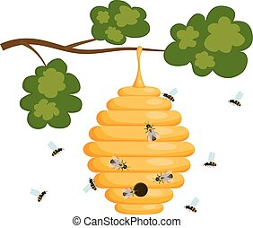 Yellow bee hive on a white background. Bee hive isolate. Stock Vector illustration of bee house with a circular entrance. Insect life in nature. Bees near the hive. Beehive in a tree branch.
