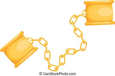 Fetters on a white background. Cartoon illustration of the shackles, isolate. Stock vector