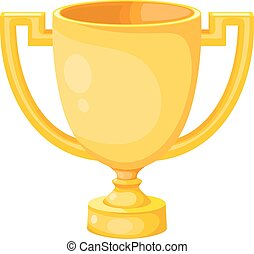 Simple flat gold cup winner with two handles on a white background. Vector cup isolate. Vector Icon prize winner of the competition.  Athletic pride. Stock vector